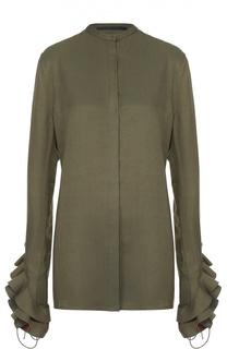 Удлиненная блуза с воротником-стойкой и оборками Haider Ackermann