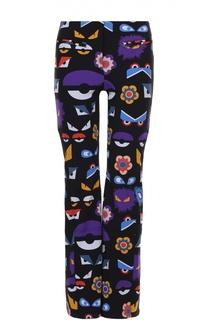 Утепленные расклешенные брюки с контрастным принтом Fendi