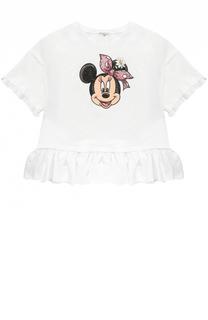 Хлопковая футболка с оборками и стразами Monnalisa