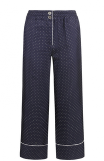 Укороченные шелковые брюки в пижамном стиле Erika Cavallini