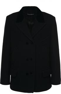 Шерстяное укороченное пальто с карманами Dolce & Gabbana