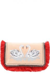 Сумка Falabella из эко-кожи с вышивкой и бахромой Stella McCartney