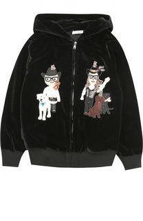 Бархатная толстовка на молнии с капюшоном и нашивками Dolce & Gabbana