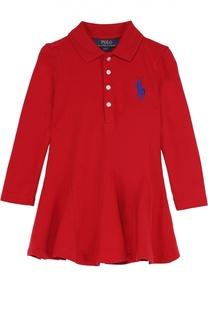 Хлопковое платье с длинными рукавами Polo Ralph Lauren