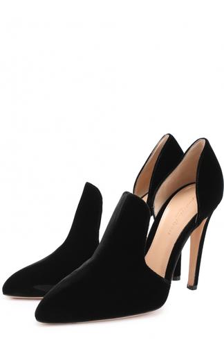 Бархатные туфли Moret с глубокими вырезами Gianvito Rossi