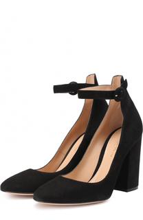 Замшевые туфли Greta на устойчивом каблуке Gianvito Rossi