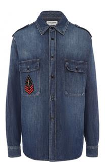 Джинсовая блуза прямого кроя с потертостями Saint Laurent