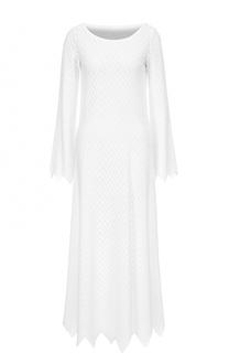 Платье-макси фактурной вязки с длинными рукавами Alaia