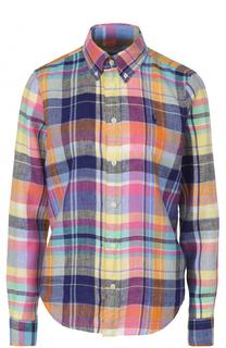 Льняная блуза в клетку с вышитым логотипом бренда Polo Ralph Lauren