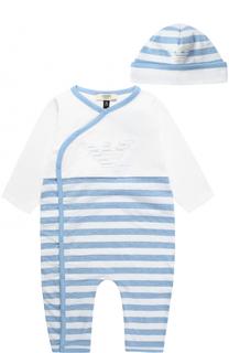 Хлопковая пижама в комплекте с шапкой Giorgio Armani