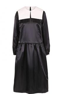 Приталенное платье-миди с контрастным воротником Comme des Garcons GIRL