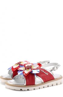 Кожаные сандалии с металлизированной отделкой и декором Simonetta