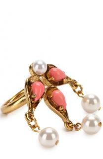 Кольцо с камнями и жемчужинами Oscar de la Renta