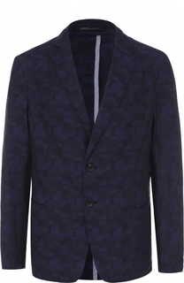 Хлопковый однобортный пиджак с принтом Armani Collezioni