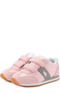 Комбинированным кроссовки с застежками велькро и логотипом бренда Polo Ralph Lauren