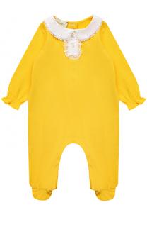 Хлопковая пижама с кружевной отделкой Gucci