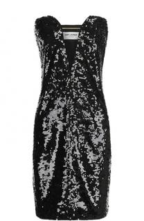 Платье-бюстье с V-образным вырезом и пайетками Saint Laurent