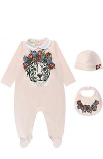 Хлопковая пижама в комплекте с нагрудником и шапкой Gucci