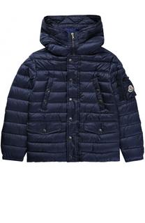 Пуховая куртка с капюшоном и накладным карманом Moncler Enfant