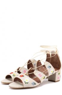 Текстильные босоножки с цветочной вышивкой Tabitha Simmons