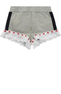 Хлопковые шорты с кружевной отделкой и принтом Monnalisa