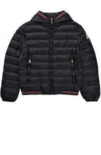 Пуховая куртка с капюшоном и контрастной отделкой Moncler Enfant