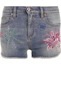 Джинсовые мини-шорты с потертостями и вышивкой Roberto Cavalli