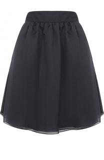 Шелковая мини-юбка с широким поясом Armani Collezioni