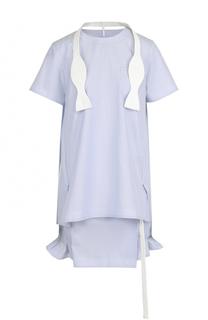 Хлопковое платье в полоску с отделкой Sacai