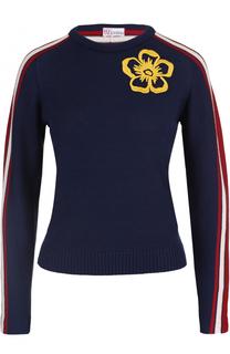 Пуловер с круглым вырезом и контрастной отделкой REDVALENTINO