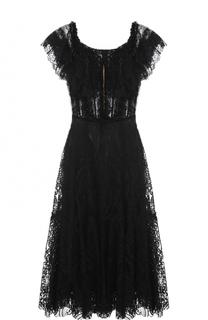 Шелковое кружевное платье с открытыми плечами Dolce & Gabbana