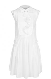 Хлопковое платье свободного кроя с оборками Moncler