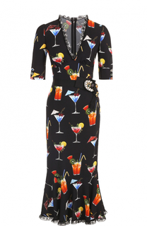 Платье с кружевной отделкой и укороченным рукавом Dolce & Gabbana