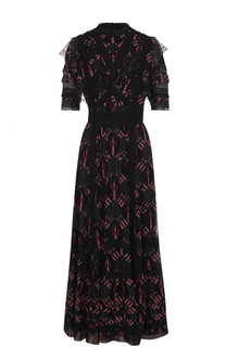 Шелковое платье-макси с оборками Valentino