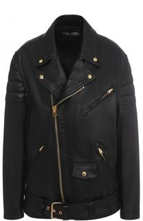 Кожаная куртка свободного кроя с косой молнией Tom Ford