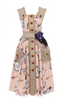 Комбинированное платье с принтом и декоративной отделкой Dolce & Gabbana
