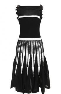 Приталенное платье-миди с оборками D.Exterior