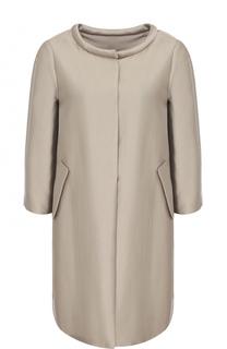 Пальто прямого кроя с круглым вырезом Armani Collezioni