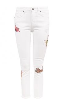 Укороченные джинсы-скинни с вышивкой Two Women In The World