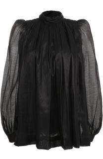 Блуза с воротником-стойкой и рукавами-фонарик Dries Van Noten