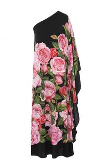 Шелковое платье с цветочным принтом и открытым плечом Dolce & Gabbana