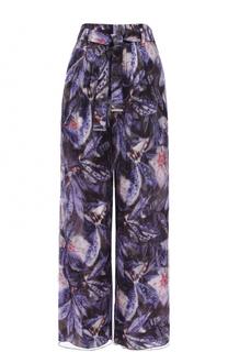 Шелковые брюки с поясом и принтом Giorgio Armani