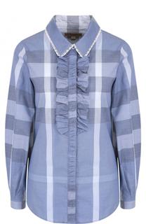 Блуза в клетку с оборками Burberry