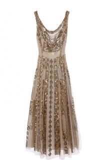 Платье с декоративной вышивкой и открытой спиной Valentino