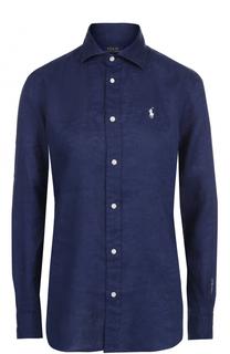 Льняная блуза с вышитым логотипом бренда Polo Ralph Lauren