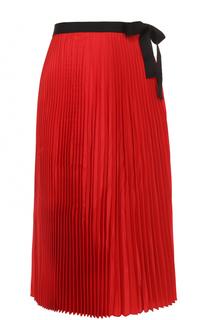 Плиссированная юбка-миди с контрастным поясом Tome