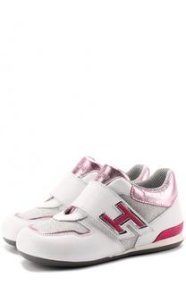 Кожаные кроссовки с отделкой из текстиля и застежками велькро Hogan