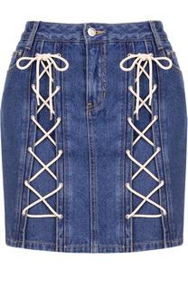 Джинсовая мини-юбка со шнуровкой Steve J & Yoni P