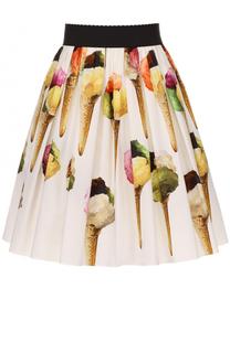 Мини-юбка с принтом и широким поясом Dolce & Gabbana