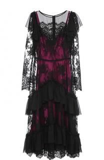 Кружевное платье-миди с оборками Dolce & Gabbana